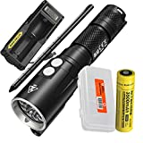 NITECORE DL10 1000 Lumen White/Red LED 30m Submersible Diving Flashlight for Underwater and Scuba with 1x 3500mAh 18650 Rechargeable Battery, UM10 Battery Charger, Lumen Tactical Battery Organizer