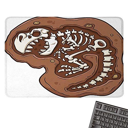 DinosaurOffice Mouse PadT-Rex Fossil in The Ground Clip Art Style Dead Bones Archeology Prehistory ThemeWaterproof Mice Pad 15.7