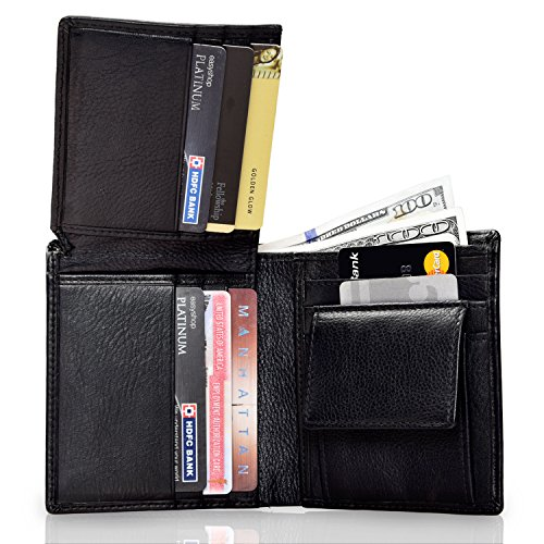 3 Pack Leather Bifold Trifold Wallet, Passport Case N Credit Card Holder For - Chris Black Insurance