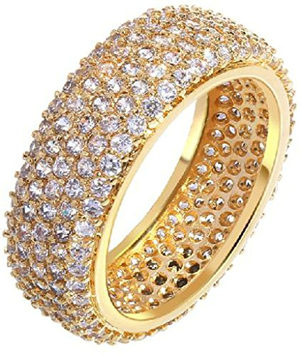 Gnzoe Jewelry, Gold Plated Womens Wedding Ring Rows Cubic Zirconia Bridal Engagement Wedding (Rosa Valance)