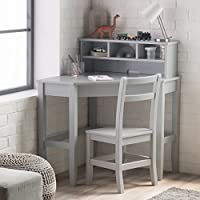 Classic Corner Desk And Reversible Hutch With Chair, Neutral Gray finish