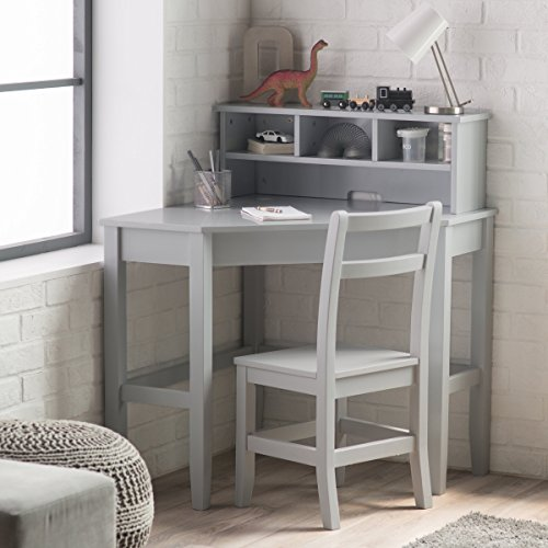 Classic Corner Desk And Reversible Hutch With Chair, Neutral Gray finish by Juvenile