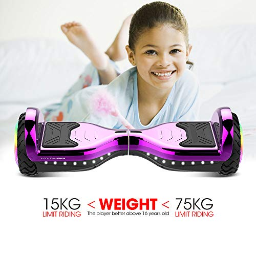 CITY CRUISER Hoverboard with Bluetooth Speaker, LED Light by UL 2272 Certified Best Gift for Kids Purple by CITY CRUISER (Image #6)