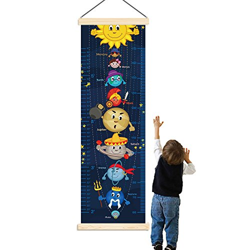 Woodland Cloth Growth Chart - Panda_mall Solar System Baby Height Growth Chart Ruler Kids Roll-up Canvas Height Chart Removable Wall Hanging Measurement Chart Wall Decoration with Wood Frame for Boys Girls Kids Room