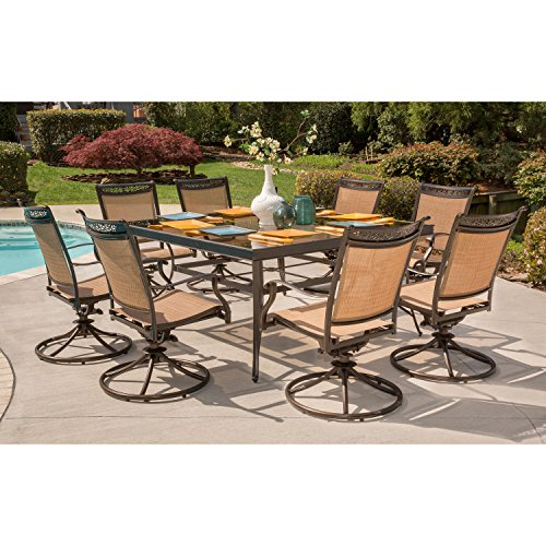 Hanover Fontana 9-Piece Dining Set with Eight Swivel Rockers and a 60 Inch Square Dining Table Bronze Garden Rocker