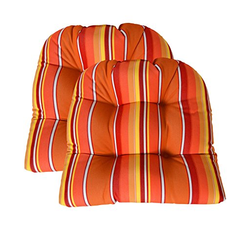 (RSH Decor Sunbrella Dolce Mango 2 Piece Wicker Chair Cushion Set - Indoor/Outdoor 2 Matching Wicker Chair Cushions - Red, Orange & Yellow Stripe)