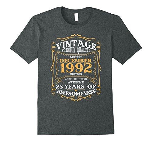 Mens Vintage Born in December 1992 25th Birthday Gift 25 Year Old XL Dark Heather