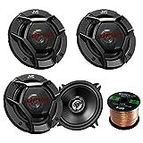 Car Speaker Package Of 2 Pairs of JVC CS-DR520 DR Sereis 5-1/4'' Inch 520 Watt 2-Way Upgarde Audio Stereo Coaxial Speakers Bundle Combo With Enrock 50 Foot 16 Gauge Speaker Wire