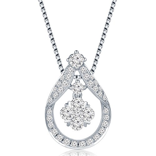 MaBelle 18K White Gold Diamond Teardrop Shaped Pendant w/ 925 Sterling Silver Chain Necklace (0.72 cttw) (Diamond Drop 18k White Gold Necklace)