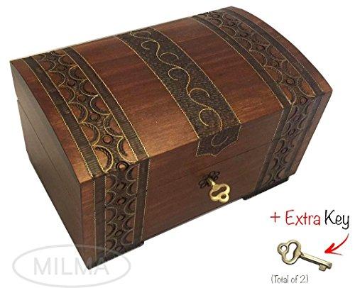 Polish Handmade Wooden Chest Jewelry Keepsake Box w/ Lock and ()