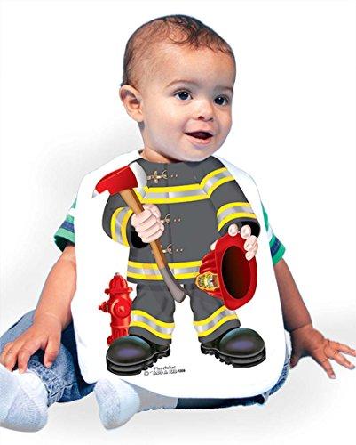 Just Add A Kid Baby Boy's Firefighter Black 1209 Baby Bib 0-6 Months White