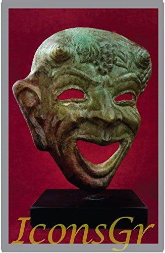 Griego antiguo Bronce Museo Estatua réplica de teatro máscara de tragedia (1445)