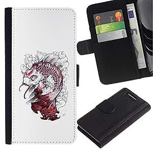 APlus Cases // Sony Xperia Z1 Compact D5503 // Dragón Kraken Blanco Pescado Monster // Cuero PU Delgado caso Billetera cubierta Shell Armor Funda Case Cover Wallet Credit Card