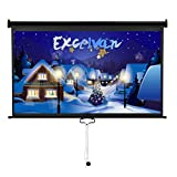 Excelvan 100'' 16:9 Manual Pull Down Projection Projector Screen Suitable For HDTV Sports Home Movies Wedding Xmas Party Presentations With Auto Locking Device