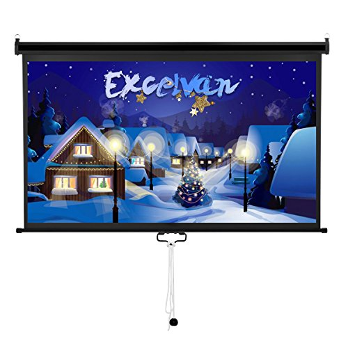 Excelvan 100'' 16:9 Manual Pull Down Projection Projector Screen Suitable For HDTV Sports Home Movies Wedding Xmas Party Presentations With Auto Locking Device by Excelvan
