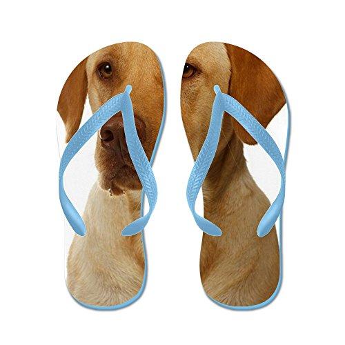 Cafepress Gele Lab Richt Zich Op Het Diner - Flip Flops, Grappige String Sandalen, Strand Sandalen Caribbean Blue