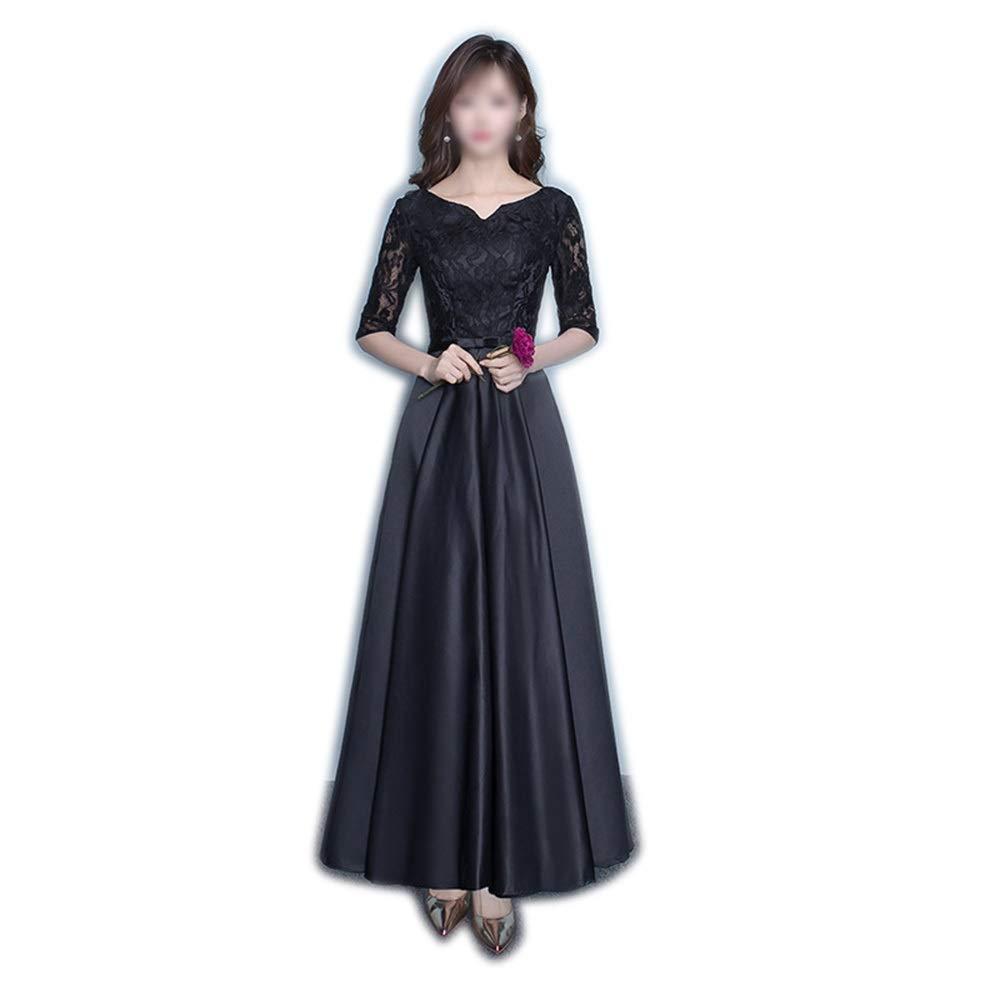 B Kirabon Womens Lace Round Neck High Waist Evening Dress Black Dress (color   B, Size   M)