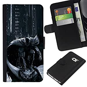 All Phone Most Case / Oferta Especial Cáscara Funda de cuero Monedero Cubierta de proteccion Caso / Wallet Case for Samsung Galaxy S6 EDGE // Pc Console Character Grey Black