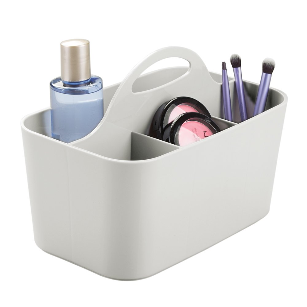mDesign Plastic Portable Makeup Organizer Caddy Tote, Divided Basket Bin with Handle, for Bathroom Storage - Holds Blush Makeup Brushes, Eyeshadow Palette, Lipstick - Small, Black MetroDecor 0827MDC