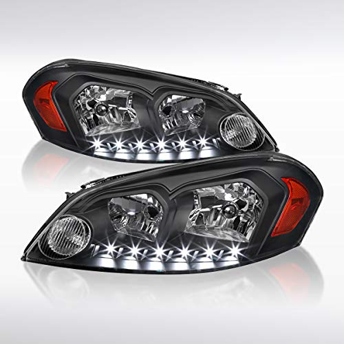 Autozensation For Chevy Monte Carlo 2006-2013 Impala Black Clear Headlights SMD LED Lamp
