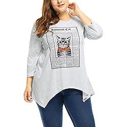 Agnes Orinda Women Plus Size Innocent Cat Graphic Top 3X Grey