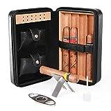 Cigar Humidor, Cigar Case, Cedar Wood Travel Portable Leather Cigar Humidor with Humidifier