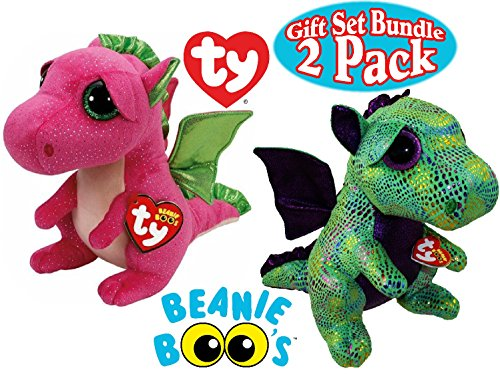 TY Beanie Boos Dragon Gift Set Bundle Featuring Cinder (Green Dragon) & Darla (Pink Dragon) - 2 Pack (Green Tag Think)