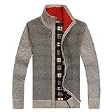 Shengweiao Men's Zip Knitted Cardigan Sweater Light Grey Size Us M