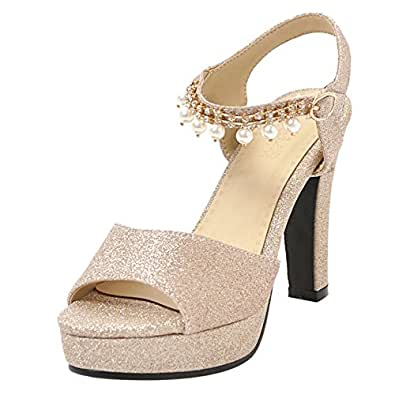 MisaKinsa Women Chunky Heel Slingback Sandals Platform Shoes Gold Size 43 Asian
