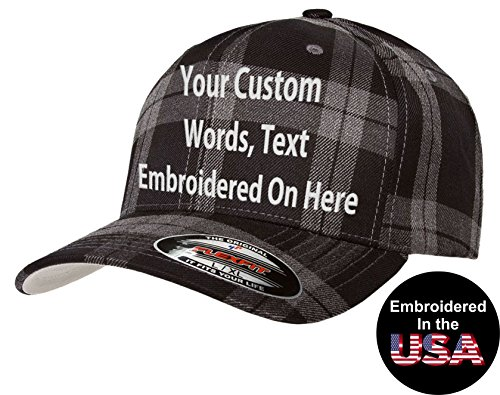 Custom Hat Flexfit 6197 Plaid Tartan Embroidered. Your Own Text Curved Bill (S/M, 6197 Tartan Plaid Black/Grey)