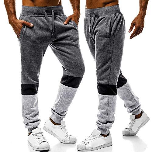 Pants Homme Pantalon Coton A Cordon Pantalons Sport Travail Survêtement Sweat Foncé Jogging Chic Patchwork Élastique Hommes Automne Hiver De Gris Serrage Mode sonnena TwwfS