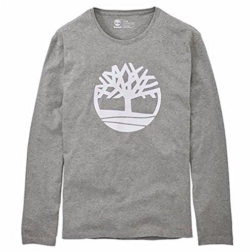 (Timberland Men's Long Sleeve Tree Logo Ringer T-Shirt (Heather Grey, Large))