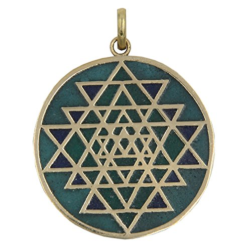 DharmaObjects Shri Yantra Chakra Talisman Protection Good Luck Magic Brass Multi Stone Color Inlay Pendant Necklace (Green Green)