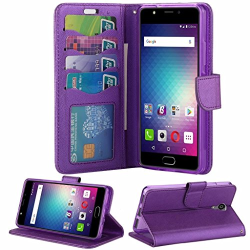 BLU Life One X2 L0090UU Case ,Luxury Design Magnetic Leather Flip Wallet Pouch Cover Case Card Holder With a Viewing Stand -PURPLE