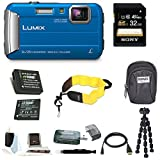 Panasonic DMC-TS30K LUMIX Digital Camera (Blue) with 32GB Accessory Bundle