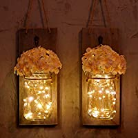 Set of 2 Warm White RUIDING-HOME Rustic Mason Jar Wall Sconces,Rustic Home Decor,Hemp Ropes,Wrought Iron Hooks Silk Hydrangea and LED Strip Lights Design for Home Decoration