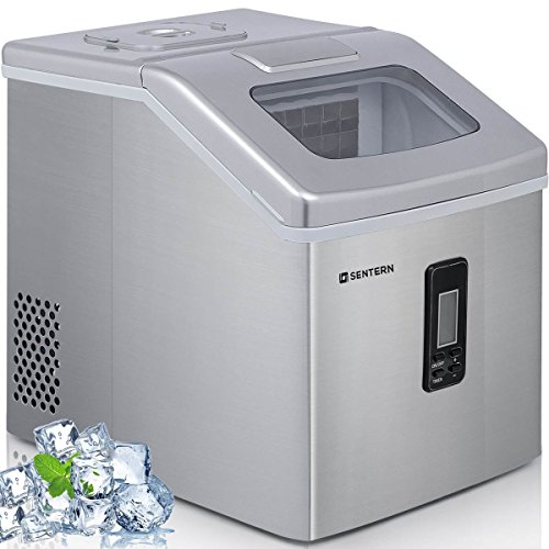 Sentern Portable Electric Clear Ice Maker Machine Stainless Steel Countertop Ice Making Machine 2.4 lbs Ice Storage 48 lbs Per Day