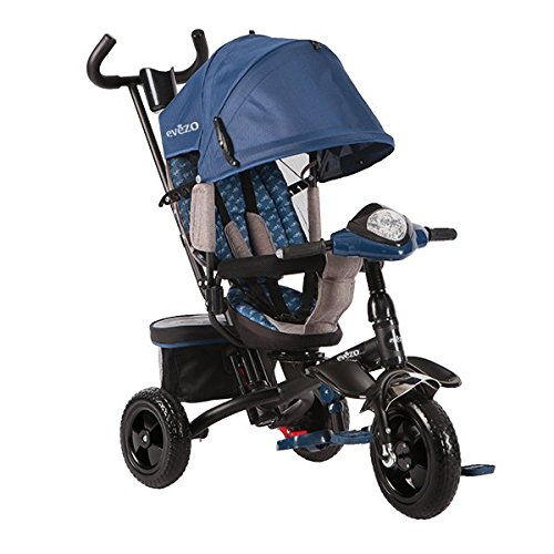 Evezo Baby Tricycle/Stroller Combo, Rotating, Blue