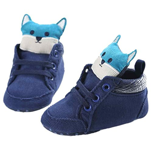 Hunpta Baby Mädchen Jungen Fuchs Hight Cut Schuhe Sneaker rutschfest weiche Sohle Kleinkind (Alter: 0 ~ 6 Monate, Blau) Blau