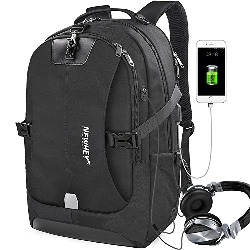 Travel Laptop Backpack Anti-theft Outdoor Water-Resistant School Backpack with USB Charging Port Business Traveling College Computer Large Capacity Backpacks Fit Under 17 Inch Laptops Black