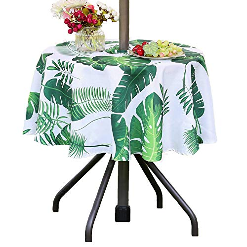 Poise3EHome 52 inches Outdoor/Indoor Waterproof Spillproof Round Tablecloth with Umbrella Hole for Camping, Picnic, Christmas Tree Skirt, BBQ, Palm Leaf (Outdoor With Umbrella Table Round Hole)
