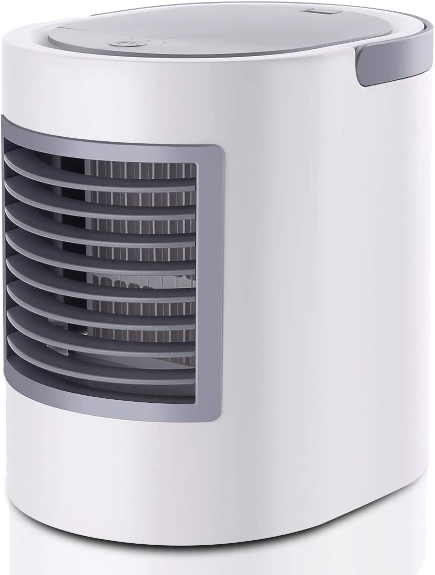 RundA Space Cooler Fan, 2020 Upgraded Personal Air Conditioner Cooler Fan with 480ml Water Tank, Portable Water Cooler Fan Humidifiers Featured Colorful Light for Bedroom, Living Room, Office