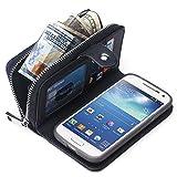 S4 Case Wallet, PU Leather Flip Zipper Wallet Detachable Magnetic Case for Samsung Galaxy S4, Braided Grain, Color Black