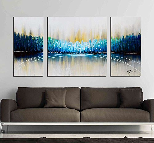 Dream Oil Painting - ARTLAND Hand Painted 24x48-inch 'River Dreams' 3-piece Gallery-wrapped Abstract Oil Painting on Canvas Wall Art Set