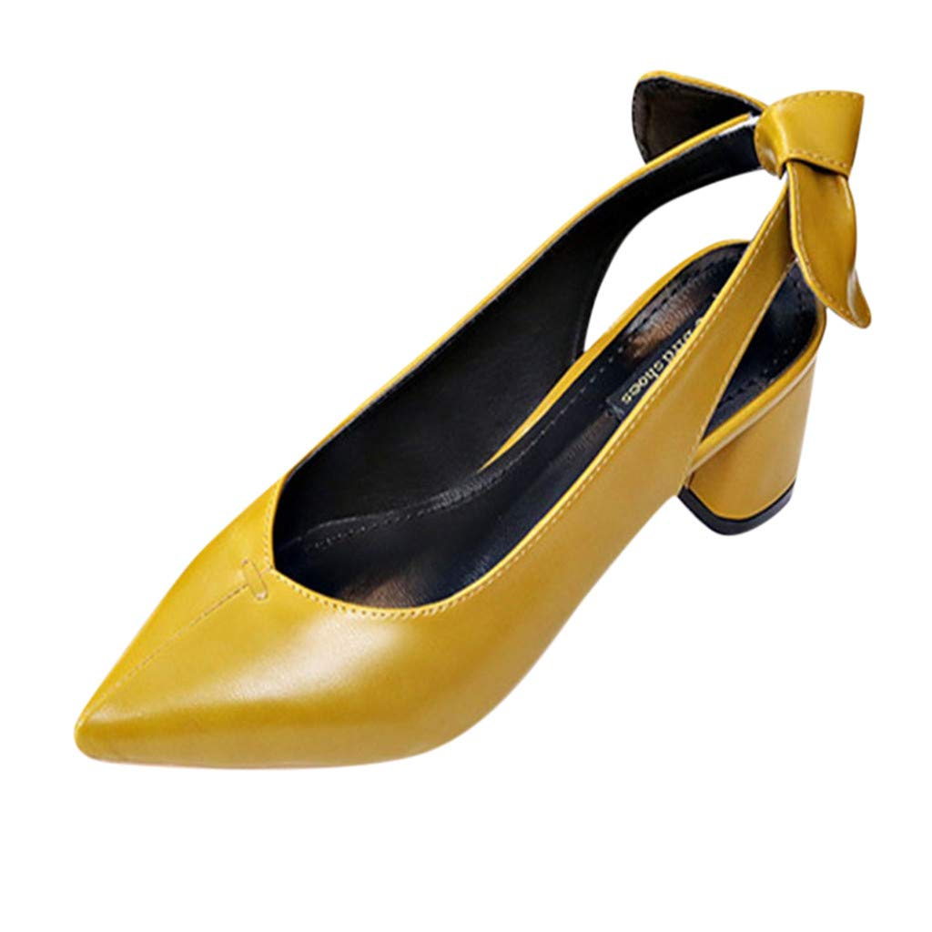 Women Sandals, ❤️ FAPIZI Pointed Toe Slingback Shoes Mid Heels Party Wedding Prom Dress Pumps Court Shoes Sandals Yellow