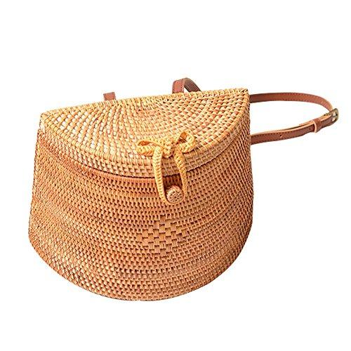 Yunt Woven Rattan Backpack Bag Rattan Beach Bag Woven Rattan Basket Bag for Women
