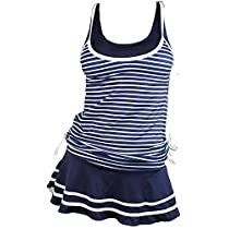 MiYang Womens Tankini Striped Vintage Swim Dress