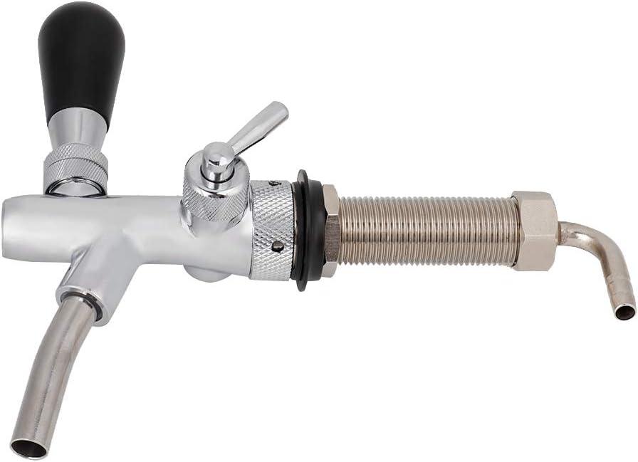 Grifo de cerveza de barril ajustable con interruptor de control de flujo Kit de grifo de vástago de 4 pulgadas para cerveza de barril Homebrew