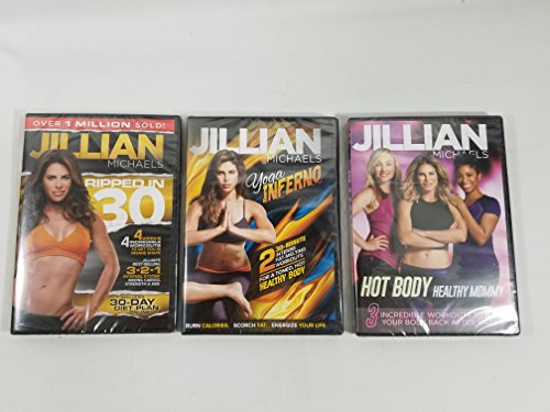 3 Pack Jillian Michaels DVD set Ripped In 30, Yoga Inferno, Hot Body Healthy Mommy