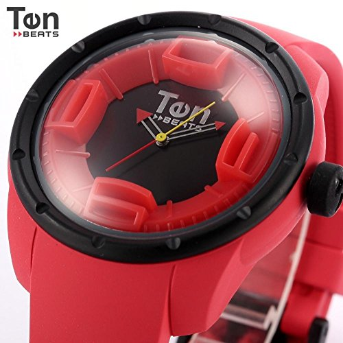 LNTGO Ten Beats Fashion Women Red Black 3D Dial Luminous Color Inner Ring Silicone Strap Analog Lady Quartz Casual Watch - Bf130201